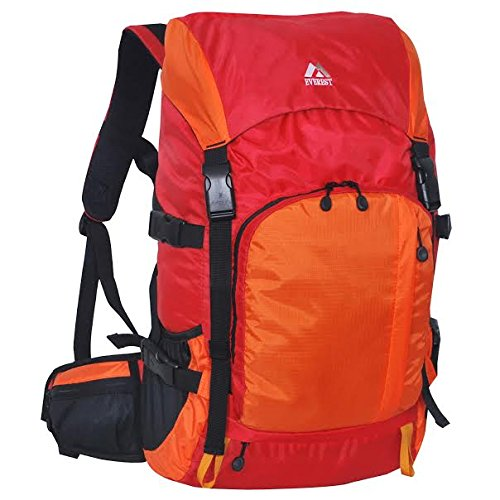 Everest Weekender Hiking Pack (Red/orange) and Blue 3.5mm Stereo Headset