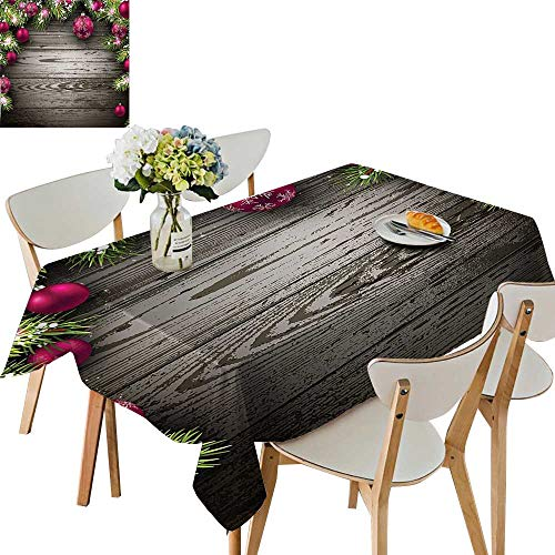 (UHOO2018 Square/Rectangle Polyester Table Cloth Old Fashioned Christmas Concept Twigs and Balls on Rustic Wood Vintage Decor Easy Care Spillproof,52x 52)