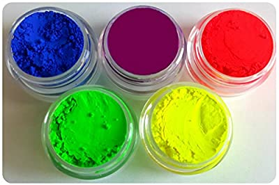 Neon Soap Dye Colorant Pigment Powder Soap Making Soap Color All Bright Matte DIY Set Each Color Is Packed In 3 Gram Size Jar Myo 5 Piece Set. Set # 5 from Myo Makeup