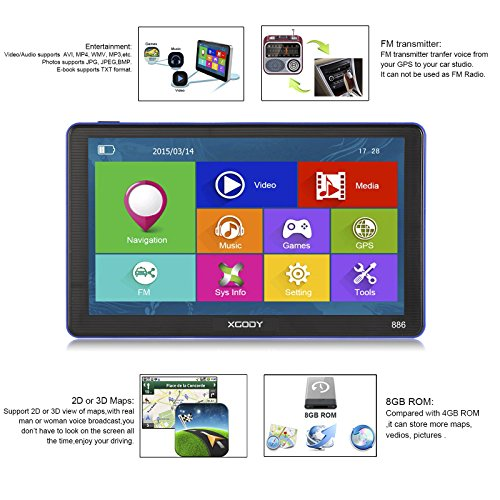Xgody 886 Bluetooth with Sunshade 7'' Capacitive Touchscreen Bluetooth Car Truck GPS Navigation 256MB RAM 8GB ROM SAT NAV System Navigator with Lifetime Maps by XGODY (Image #3)