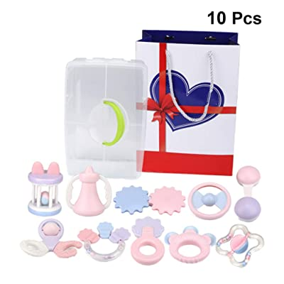 TOYANDONA 10pcs Baby Rattles Teether Toy Rattle Shaker Toy Shaking Bell Grab Spin Rattle Toy Chewing Toy Hand Grip Toy for Baby Newborn Infant: Toys & Games