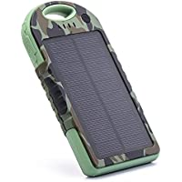 EFOSHM Portable Solar USB Charger 12000mah chargers Power Basic Bank Exernal Battery Capacity Pack Panel for Iphone Apple iPhone 6s 6 Plus, Android, Samsung, HTC, LG, Nexus,Tablet,more (Army Green