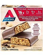 Atkins Protein Bars - chocolaty peanut butter, 2g Sugar, Keto-Friendly, High protein, high Fibre 5 count