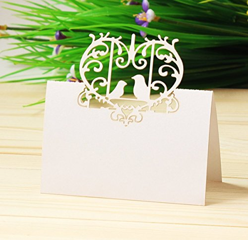 Love Birds Place Card Holder - Worldoor Laser Cut Perfect Pair Love Birds Heart Wedding Place Card Table Number Banquet Party Decoration/Wedding Guest Card Wedding Decoration Place Cards (Pack of 100)