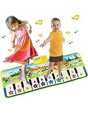 EXTSUD Piano Mat Tanzmatten Klaviermatte Musikmatte Kinder 8 Tierstimmen Klaviertastatur Spielzeug Musik Matte, Keyboard Matten Spielteppich Baby Tanzmatte für Jungen Mädchen Kinder