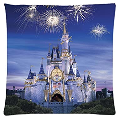 Disney castle ~ Durable Unique Throw Square Pillow Case 18X18 inches Fashionable Diy Custom Personalized Pillowcase Design by Engood