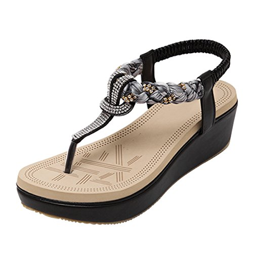 LUXINYU Women's Bohemian Platform Sandals Rhinestone Bead Wedge Shoes Thong Sandal Black US 8.5