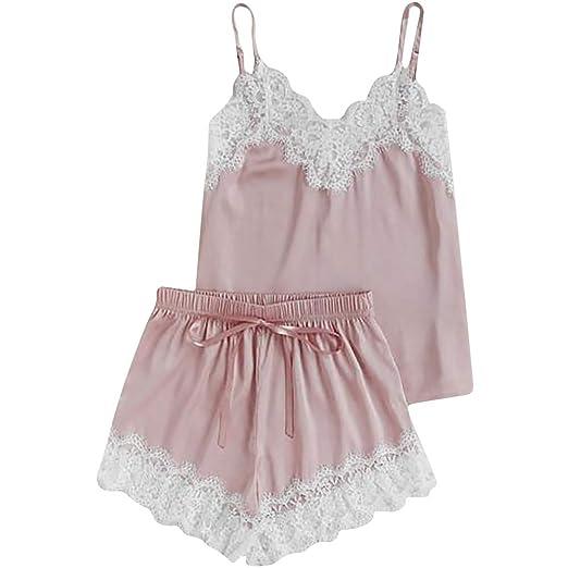 Gusspower Pijamas Mujer Verano Corta Conjunto 2 Piezas de Ropa de Dormir Blusa y Pantalones Algodón Suave Loungewear: Amazon.es: Ropa y accesorios