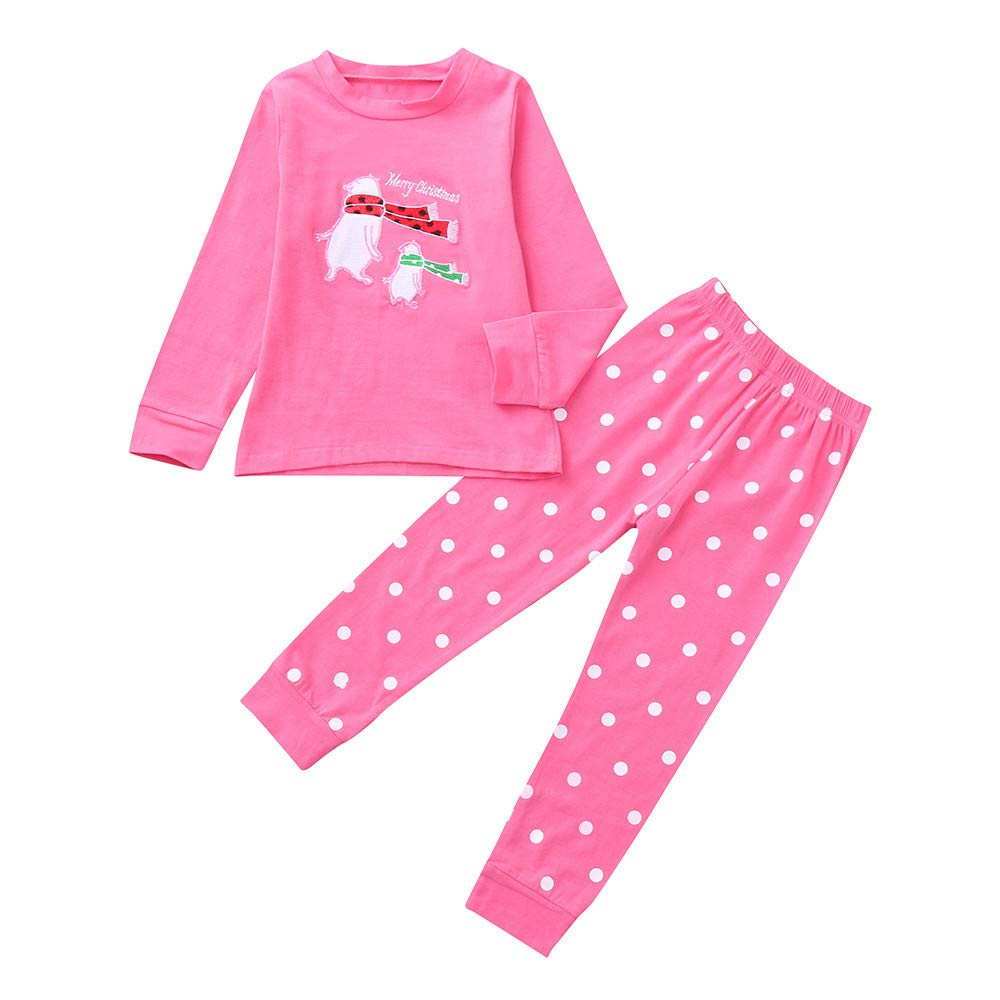 Clearence Toddler Kids Baby Boys Girls Cartoon Christmas Tops Pants Pajamas Outfits Set KpopBaby