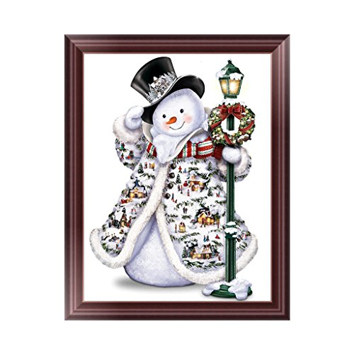 5D Round Diamond Painting Christmas Snowman Embroidery DIY Cross Stitch Kit Home Wall Decor (13(14.96''x11.81''))