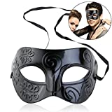 WINOMO Roman Masquerade Mask Black Venetian Mask Men Women Costume Party Halloween