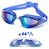 YJWB Anti-Fog No Leaking UV Protection, Triathlon Swimming Goggles for Men/Women/Children, Blue