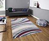 All New Modern Contemporary Stripes Carved Design Area Rug Embassy Collection by Rug Deal Plus (6' x 9', Blue/Grey/Red)