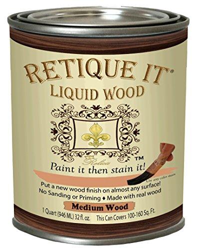Retique It Liquid Wood - Medium Wood Quart - Paint it Then Stain it - Stainable Wood Fiber Paint - Put a Fresh Coat of Wood on it (32oz Medium Wood)