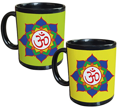 Tiedribbons® Om Ganeshaya Set Of 2 Black Coffee Mug