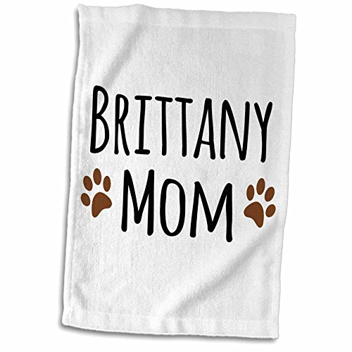 Dog Breed Brittany Spaniel - 3D Rose Brittany Spaniel Dog Mom Breed-Brown Muddy Paw Prints Love Doggy Lover Mama Pet Owner Towel, 15