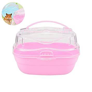 Portable Hamster Cage Travel Carrier Mini Pouch Outgoing Mouse Safety House Case