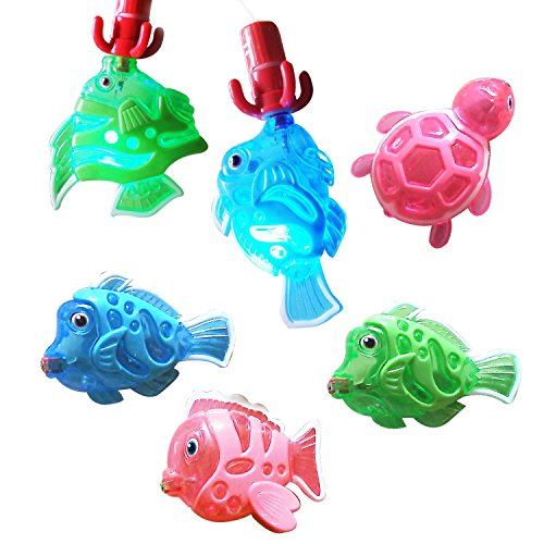 Zviku Magnetic Light Up Fishing Baby Bath Toys Set for toddlers – Includes Rod & Reel with Turtle and 5 Unique Fish