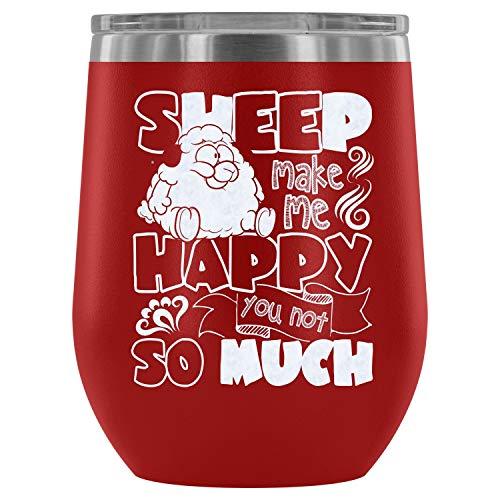 Mom Mug-Steel Stemless Wine Glass Tumbler, Funny Sheep Vacuum Insulated Wine Tumbler, Sheep Make Me Happy Wine Tumbler (Wine Tumbler 12Oz - Red) -