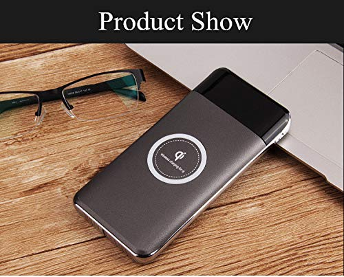 Price comparison product image T.Face Wireless Charger Power Bank 10000mAh Portable Mobile Phone Charger 2 USB Digital Display Fast Wirele (Gray)