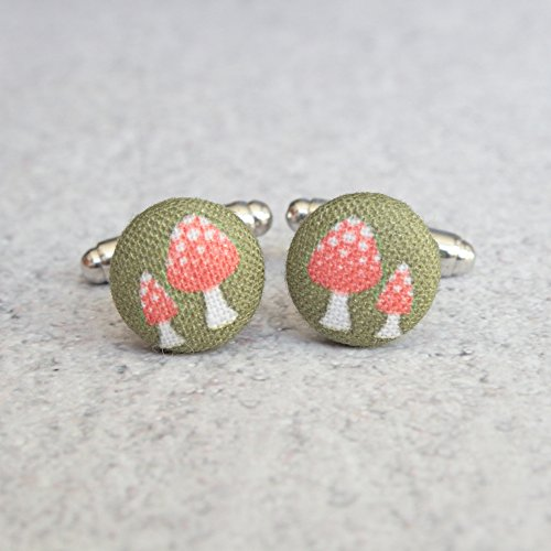Retro Mushrooms Fabric Button Cufflinks by Rachel O's