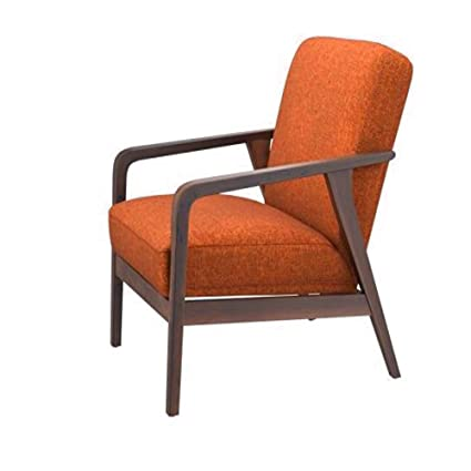 Exceptional Burnt Orange Chair Accent Stylish Midcentury Modern Fabric Compact Wood Arm  Decorative Industrial Furniture Comfortable Sturdy