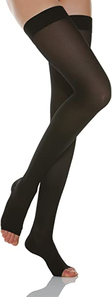 Relaxsan Basic 970A open-toe firm support Thigh High W//Lace stockings 20-30mmHg