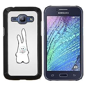 LECELL--Funda protectora / Cubierta / Piel For Samsung Galaxy J1 J100 -- Conejo blanco Figura Arte Dibujo Orejas grandes --