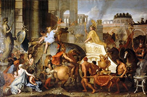 Gifts Delight Laminated 36x24 Poster: Triumphal Entry of Alexander The Great into Babylon Charles Le Bru Painting Art