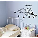 ufengke Cartoon Cute Sleeping Puppy Dog Paw Prints Wall Decals, Children's Room Nursery Removable Wall Stickers Murals