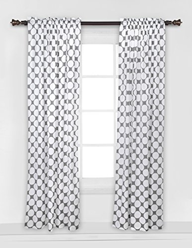 Bacati - Dots/pin Stripes Grey Large Dots Curtain Panel