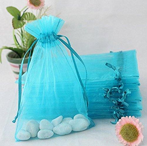 MIMOO Organza Beutel Candy Bag Hochzeit Gunsten Geschenktü te Schmuck Tasche DIY Handwerk Dekor (ca. 100Pcs Lake Blue)