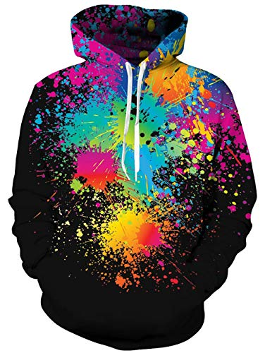 TUONROAD Tie Dye 3D Hoodie Funny Mens Hooded Sweatshirts Long Sleeve Pullover Jumper with Kanga Pocket S-M