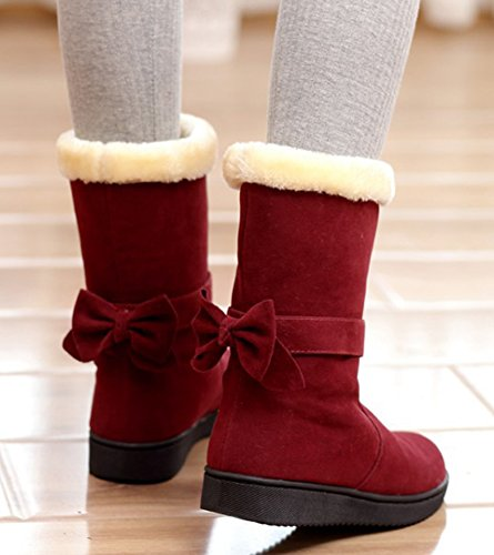 Snow Mid Comfy Round Flat Aisun Women's Red Boots Shoes Detachable On Bowknot Warm Toe Calf Slip H75qv