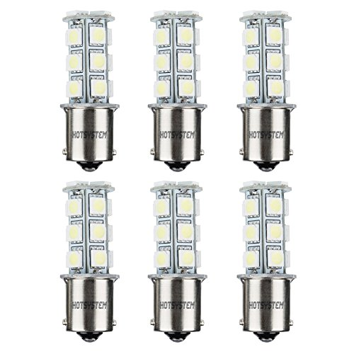 HOTSYSTEM LED Light Bulbs 1156 1141 7506 P21W BA15S 18-5050SMD for Car RV SUV Camper Trailer Trunk Interior Reversing Backup Tail Turn Signal Corner Parking Side Marker Lights(Cool White,Pack of 6)