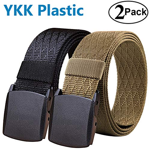 (Fairwin Men's Military Tactical Web Belt, 2 Pack Nylon Canvas Webbing YKK Plastic Buckle Belt)