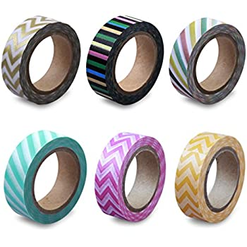 LolliZ Washi Tape – Circus Stripes Set with Six Rolls of fun and festive colors