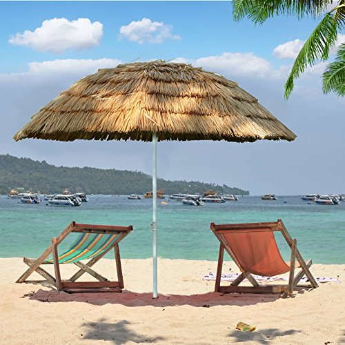 - US PIEDLE 6.5ft Outdoor Beach Umbrella Hula Thatched Tiki Umbrella Tropical Hawaiian Patio Straw Umbrella Raffia Umbrella with 8 ribs, Natural Color