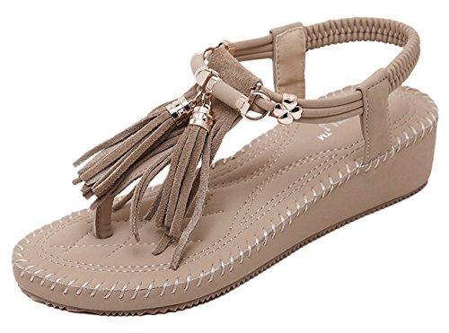 Women's US 7 Wedge Beige Tassel Sandal 5 Chickle dqwa1F0AWd