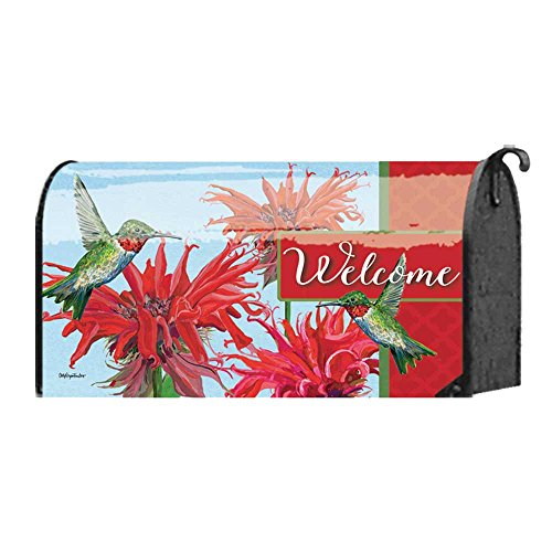 - Welcome Tiny Wonders Hummingbirds and Bee Balm 22 x 18 Standard Size Mailbox Cover