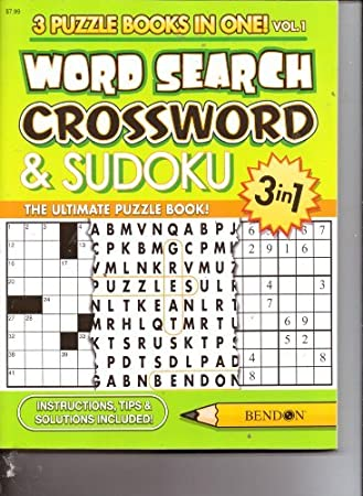 3 in 1 Word Search, Crossword & Sudoku (3 Puzzle Books in One) 192 Pages