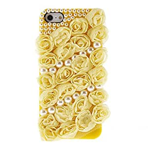 Buy Textile Flower and Pearl Ornament Back Case for iPhone 5/5S(Assorted Color) , Black
