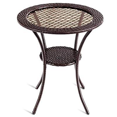 "Tangkula 25"" Patio Wicker Coffee Table Outdoor Backyard Lawn Balcony Pool Round Tempered Glass Top Wicker Rattan Steel Frame Table Furniture W/Lower Shelf"