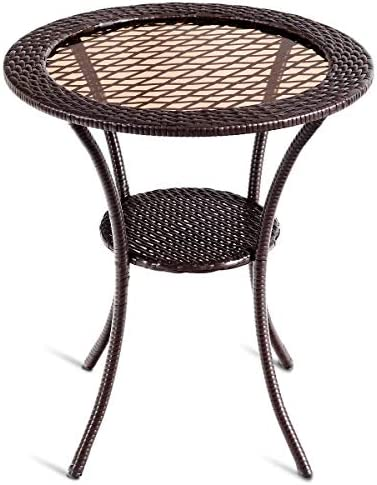 Tangkula 25 Patio Wicker Coffee Table Outdoor Backyard Lawn Balcony Pool Round Tempered Glass Top Wicker Rattan Steel Frame Table Furniture W/Lower Shelf