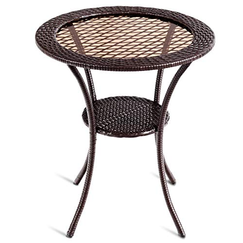 Tangkula 25 Patio Wicker Coffee Table Outdoor Backyard Lawn Balcony Pool Round Tempered Glass Top Wicker Rattan Steel Frame Table Furniture W Lower Shelf