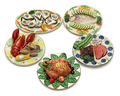 "Dollhouse Miniature Food ""Thanksgiving Dinner Set"" -Set of 5- Premium Quality Unique Handcrafted Ceramic Tiny Fake Food, Barbie-Sized Food, Collectible Items"