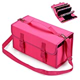 BTSKY New 120 Slots Marker Case Lipstick Organizer--Canvas Markers Holder for for Primascolor Markers and Copic Sketch Markers (Pink)