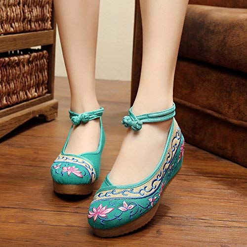 Moontang Bestickte Schuhe Leinen Sehnensohle Sehnensohle Sehnensohle Ethno-Stil Erhöhte Damenschuhe Mode bequem lässig grün 36 (Farbe   - Größe   -) 1cd155