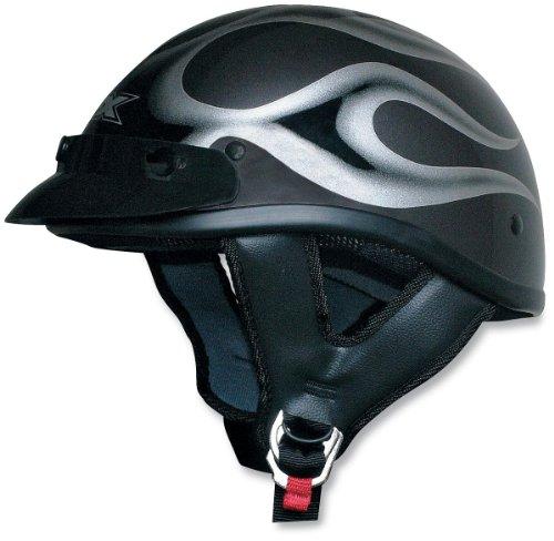 AFX FX-70 Beanie Helmet, Dark Silver/Black Flame, Size: Lg, Primary Color: Silver, Helmet Category: Street, Helmet Type: Half Helmets 01030474 (Helmet Silver Flame Half)