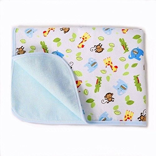 Baby Reusable Diaper Changing Pad for Home and Travel,Portable Waterproof Urine Mat Packing of 1 (L (27.56 x 39.37 Inch), Monkey & Elephant)